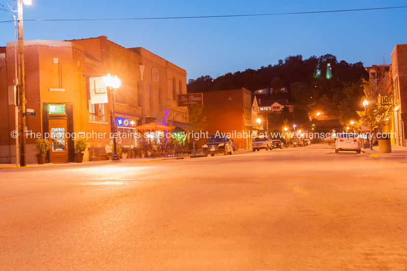 Night lights on Main Street Hannibal Missouri US
