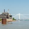St Louis, architecture, river and bridges Missouri,USA. The Stan Musial Veterans Memorial Bridge