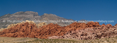 Red Rock Canyon, the magnificent red stratified rock of theis desert area. Red Rock Canyon, located 20 miles west of Las Vegas off State Highway 159.