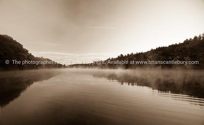 Brattleboro, morning mist on the Conneticut River.