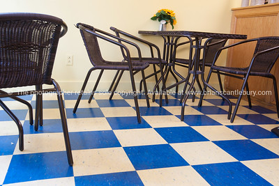Retro cafe, blue and white checked floor