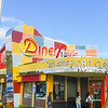 Classical retro American Diner Deluxe bright signage and colors.