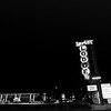 Bright neon sign of Lariat Lodge in Gallup New Mexico.