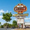 Historic Route 66, Grants, NM vintage Roaring 20s liquor store sign. New Mexico, USA.