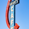 Old tatty retro cafe neon sign in Grants New Mexico