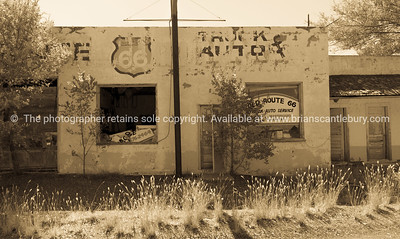 Was once an auto repair shop, long abandoned, Mother Road remains, San Jon, Route 66, New Mexico, USA.