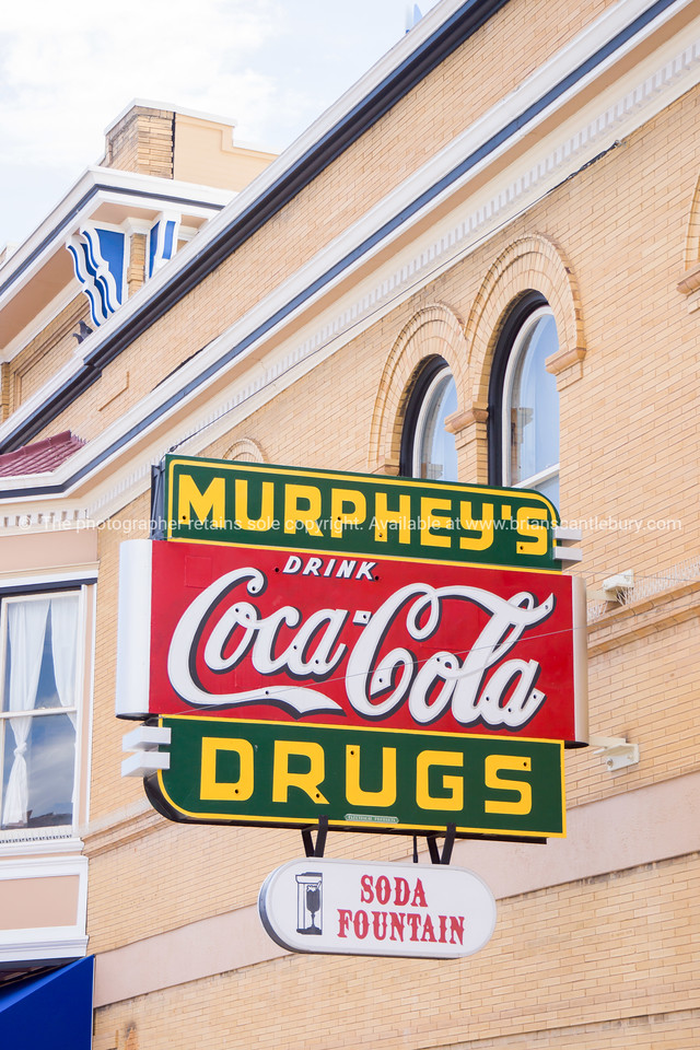 Murphey's Coca Cola, Drugsand soda fountain sign on building Las Vegas on Route 66 New Mexico, USA.