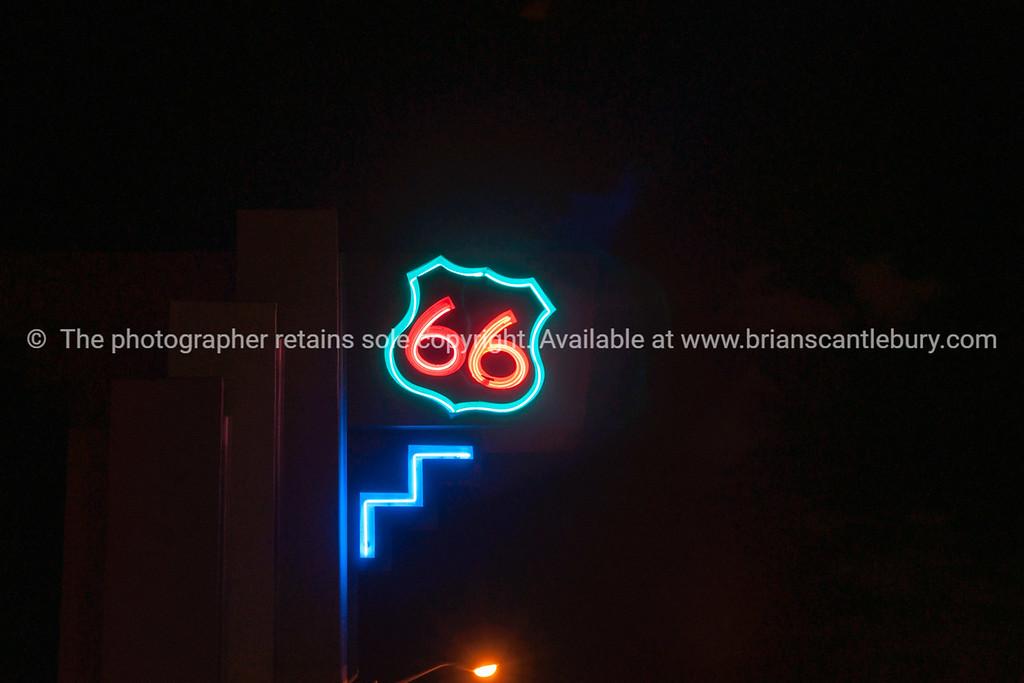 Route 66 neon sign, Albuquerque, New Mexico, USA.