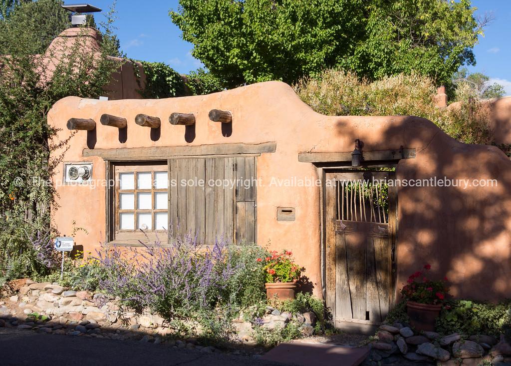 Buildings and signs Santa Fe, New Mexico, USA.