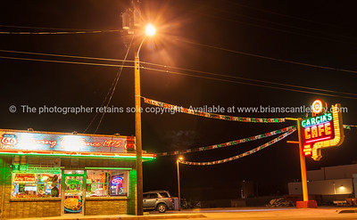 Garcia's Cafe, a location for movie Breaking Bad opened 1973, neon sign, Albuquerque, New Mexico, USA.