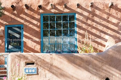 Buildings and signs Santa Fe, New Mexico, USA.-10-2