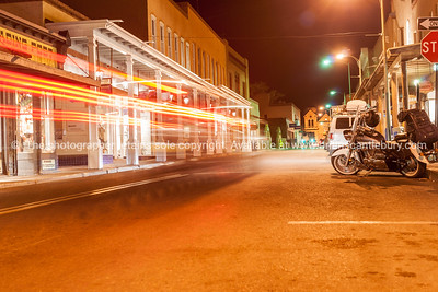 Buildings and signs Santa Fe, New Mexico, USA. Night street scene.