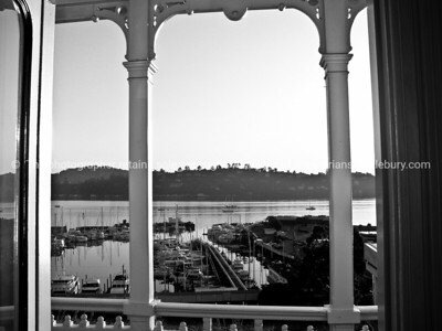 View from hotel balcony in Sausalito. Outside San Fransisco, California. Black and white image of waterfront.