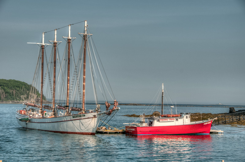 • Location - Downtown Bar Harbor Maine<br /> • A Sailboat and Fishing Boat at the dock