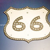 Sign shield shape for Route 66 USA.  one of the incredible variety of 66 signs seen along the historic route