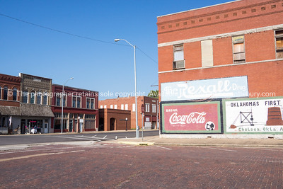 Buidlings, street scenes Coca Cola sign  Chelsea, Oklahoma on Route 66.