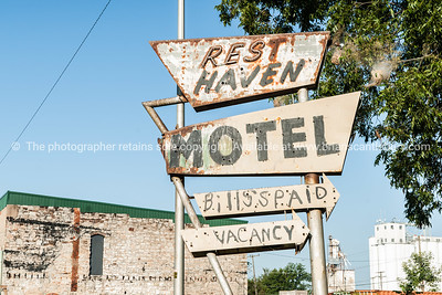 Another abandoned motel sign, Rest Haven, Afton, Oklahoma on Route 66, USA