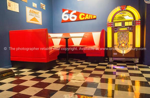 66 Cafe, retro cafe interior, Route 66.