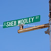Sheb Wooley Street sign in Erick, Oklahoma, USA