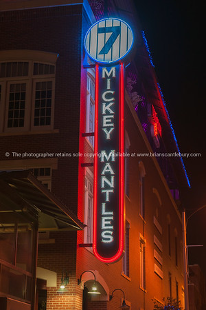 Mickey Mantles restaurant neon sign in Bricktown, Oklahoma City, OK, USA.