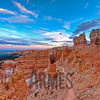 Sunset view of the start of the Navajo Loop Trail from Sunset Point, Bryce Canyon National Park, Utah