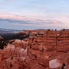 Panoramic view at sunset of Bryce Canyon National Park, Utah, from the start of Navajo Loop Trail at Sunset Point