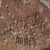 Close up of petroglyphs on Inscription Rock, El Morro National Monument, New Mexico