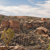 Twin Towers (left), Rim Rock House (top right), Eroded Boulder House (right center), Hovenweep National Monument, Colorado