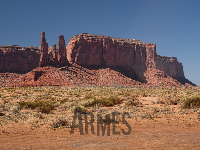 Three Sisters & Mitchell Mesa, Monument Valley, Navajo Tribal Park, Arizona