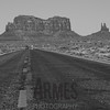 Driving north on the US163. Brigham's Tomb & King On His Throne, Monument Valley, Navajo Tribal Park, Arizona