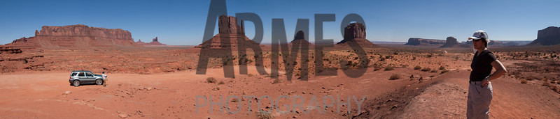 Panorama showing view from Sentinel Mesa to Camel Butte, Monument Valley, Navajo Tribal Park, Arizona