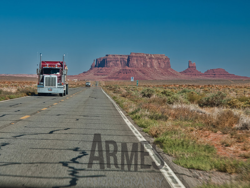 Route 163 approach to the Monument Valley Tribal Park, Arizona