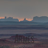 Monument Valley at sunset viewed from the Valley of the Gods, Utah