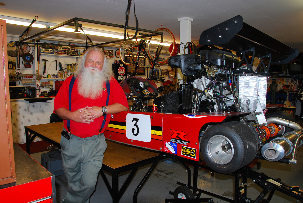 Jim Brannon with his GSXR1000 powered kart
