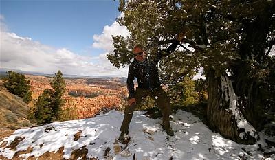 Spelen met de sneeuw. Bryce Canyon National Park, Utah, USA.