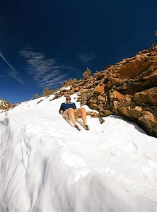 Zonnen in de sneeuw! Rocky Mountain National Park, Colorado, USA.
