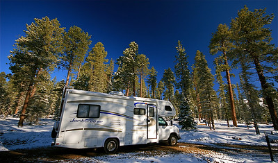 Onze camper in winterwonderland. De Motte Campground, Arizona, USA.