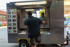 New York CIty, NY, USA, Man Shopping, Spanish Food Truck in Brooklyn Street