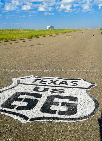 smartphone, Texas US sign on road. Another  of incredible variety of 66 signs seen along the historic route