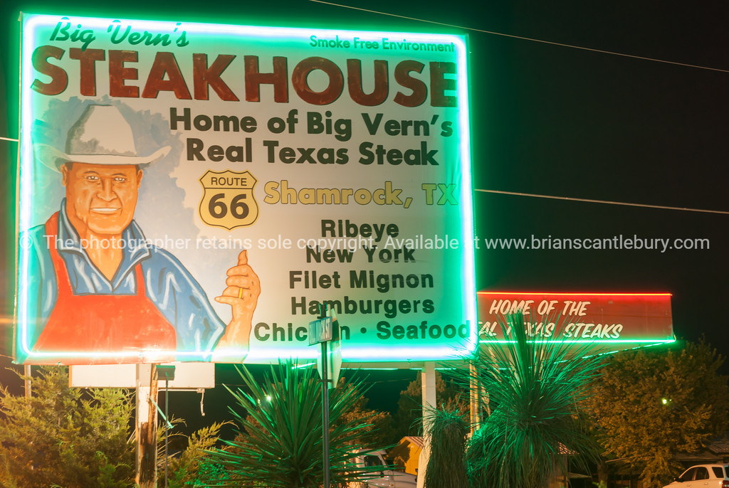 Big Vern's Steakhouse sign on Route 66 at Shamrock, Texas, USA.dng