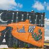Route 66 wall mural, Sayre, Oklahoma, USA