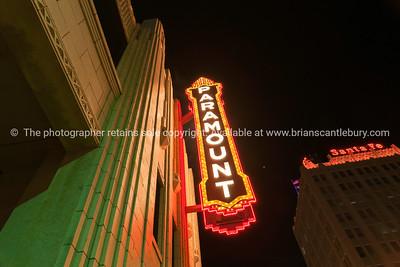 Urban neon signs and lighting, Paramount,  downtown Amarillo, Texas, USA