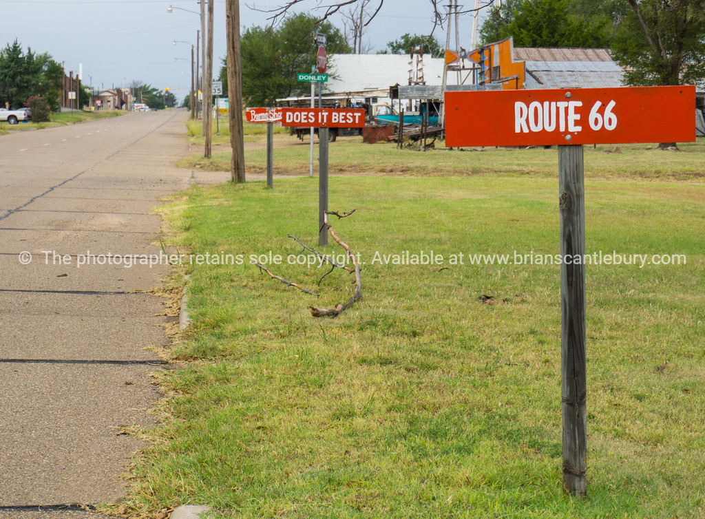 Burma Shave signs enetering McLean, Texas on Route 66,USA.dng