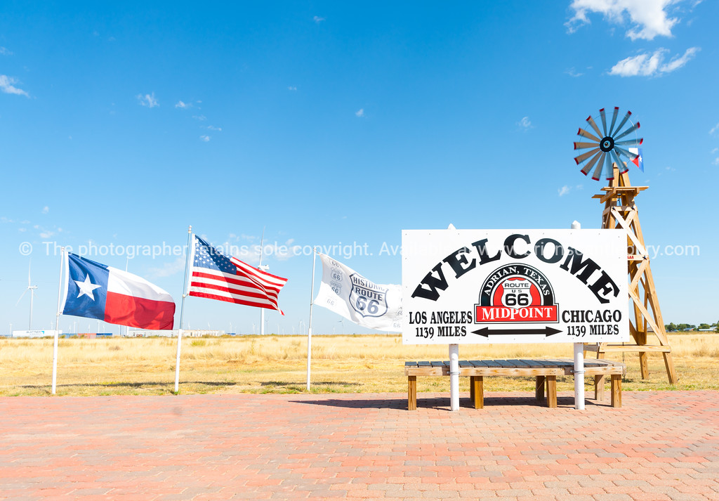 Welcom sign Adrian, official midway point  between Chicago - Los Angeles on Route 66, Texas, USA.