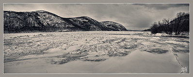 Dark mood of the frozen Hudson River