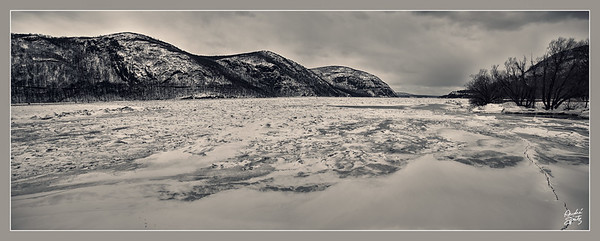 Dark mood of the frozen Hudson River