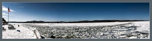 Frozen channels of the Hudson River