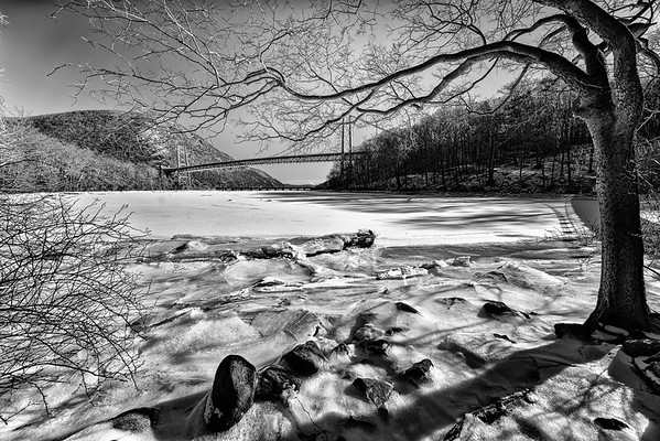 Bear Mountain bridge and a frozen tributary to the Hudson River
