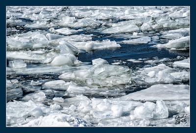 Broken iced river