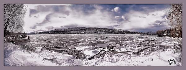 Broken ice on the Hudson River
